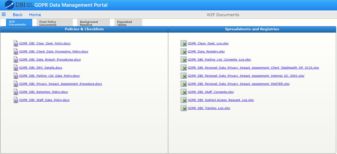 DBI data management portal 1